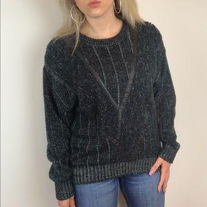 Gabrielle Vintage Black Leather Oversized Sweater